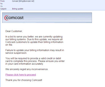 Comcast Phishing Email
