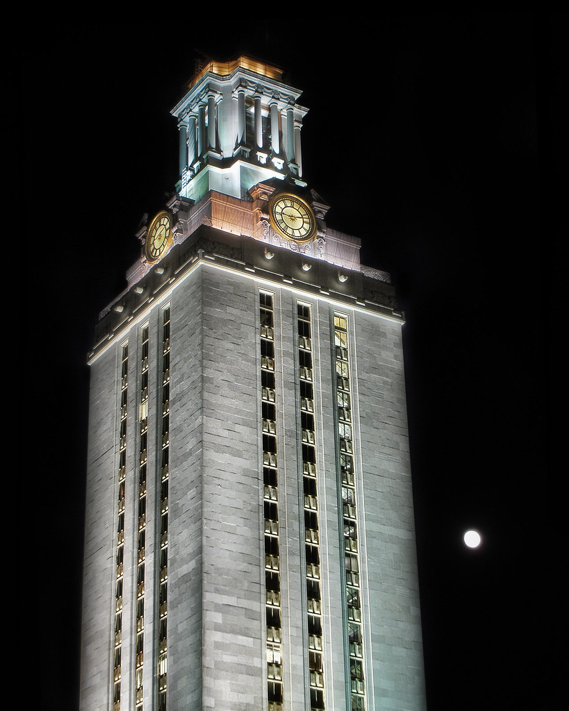 UT Tower and Moon (HDR)