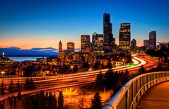 12th Street Bridge Sunset HDR (Fresnatic) Tags: seattle sunset downtown skyscrapers cityscapes explore pacificnorthwest bluehour washingtonstate hdr lightroom photomatix 12thstreetbridge canonrebelxsi drrizalbridge fresnatic photoshopcs5