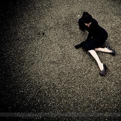 14 :: 31 (sweethardt) Tags: woman selfportrait black rooftop leather female dress brunette gravel stilettos patent louboutin