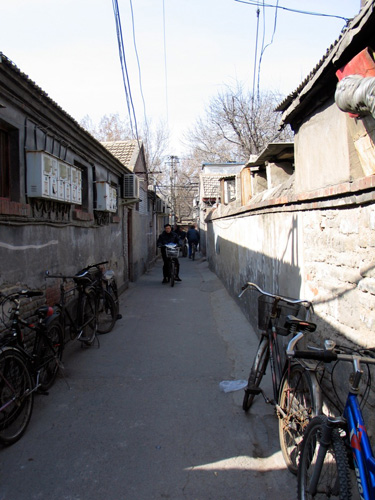 Bicycles leaning on sunny side of alley