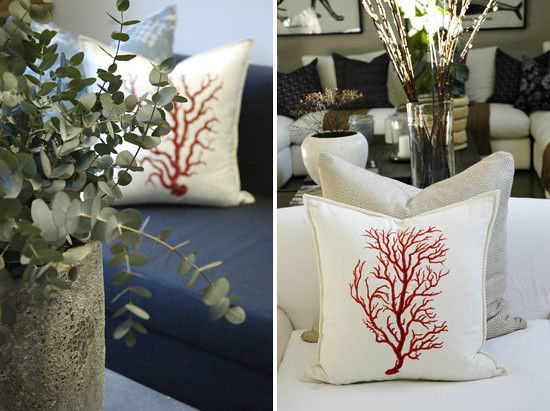 Pezula Interiors- coral cushions