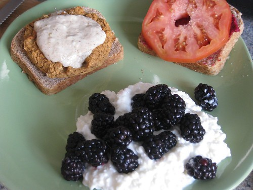Veggie burger, blackberries with cottage cheese