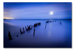 asleep (Matthew Stewart | Photographer) Tags: ocean blue light sunset sea sky black reflection beach water sunshine coast sand iron ship matthew ss australia shipwreck stewart qld queensland wreck wrecked caloundra dicky landscapes25