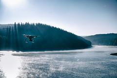 Air Drone (Der_Friedel) Tags: dji phantom 2 drohne wasser see sea water drone sunlight dust morning sky clar himmel rauch morgentau reif follow clouds blue talsperre wassertalsperre watching beobachtet