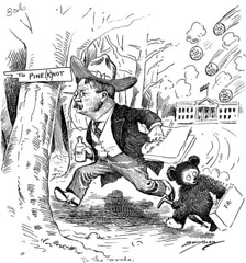 """To the Woods!"" Cartoon Featuring President Theodore Roosevelt and the Teddy Bear Character"