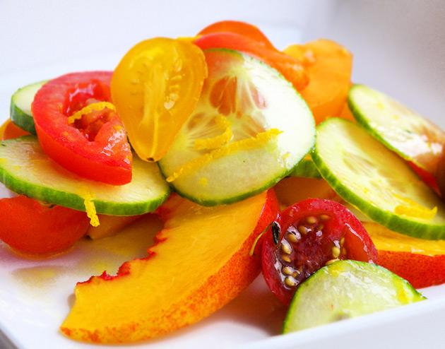 ... – tomato cucumber salad with orange vinaigrette and nectarines