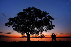 Clear Lake Sunset (Gary Simmons) Tags: blue sunset people lake tree silhouette couple manitoba clear reds wasagaming epiceditsselection