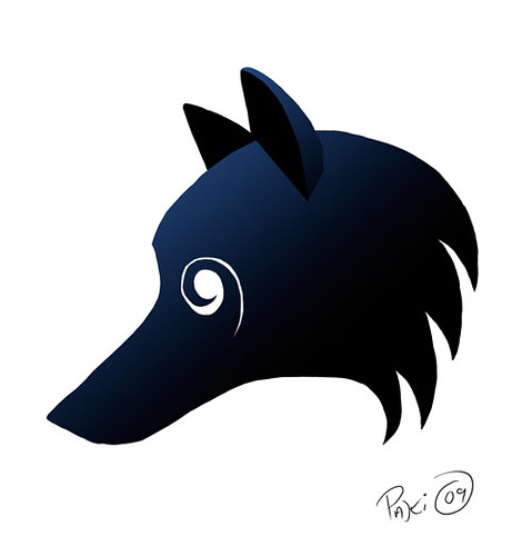 The head of a Black Wolf in profile with a swirling white eye.