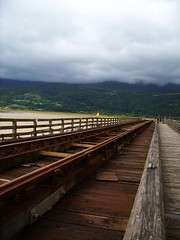 (heleng42) Tags: bridge wales clouds train track barmouth