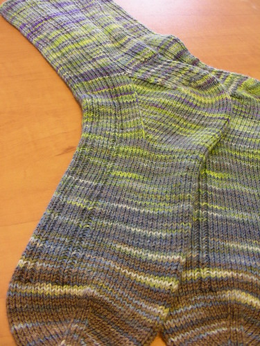 oak ribbed socks blocked