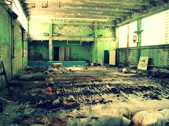 Abandoned school in Pripyat' / Chernobyl - the gym (Daniel Kliza) Tags: plant danger radio tour power evacuation radiation nuclear ukraine disaster radioactive powerplant 1986 atomic kiev zona zone explosive ussr iaea chernobyl geigercounter exclusion geiger pripyat exclusionzone