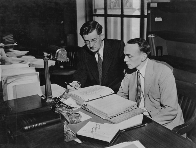 Photograph of Dr Carl Lokke and Alton R Wright in Central Search Room 1942 by The US National Archives