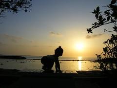 Morning Yoga (╚ DD╔) Tags: baby sun male beach water yoga kids sunrise bench children sand maldives