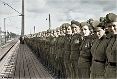 Soviet girl snipers stand at attention - ww2 (Za Rodinu) Tags: world 2 man men history vintage soldier war gun russia military rifle rifles front german weapon ww2 soldiers historical guns 1942 1945 rare troops 1944 1943