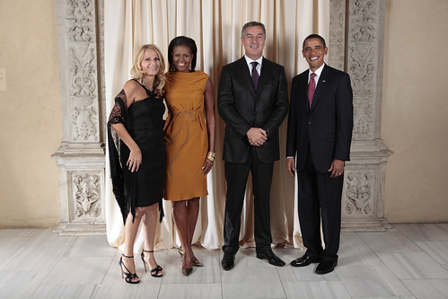 Prime Minister of Montenegro and his wife with the Obamas