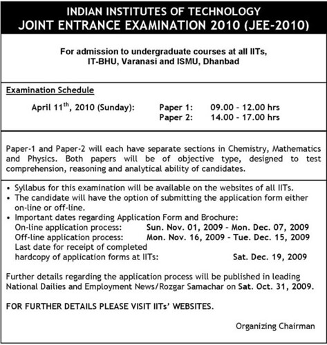 JEE 2010 English Notification