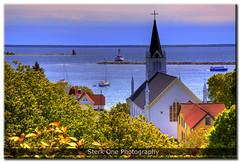 Ste. Anne's Catholic Church - Mackinac Island Harbor (Craig - S) Tags: church ferry sailboat harbor michigan scenic mackinacisland mackinac mackinaw steannescatholicchurch