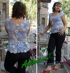 Denim (antonina.kuznetsova) Tags: motif lace top crochet ukraine clothes cotton vest freeform irishcrochet crochetlace lacefreeform motifcrochet