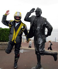 Morecambe and Un- Wise (davekpcv) Tags: uk england statue fun coast eric lancashire wise gb biker morecambe ericmorecambe