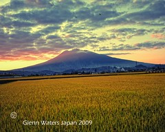 Iwaki Volcano Autumn Sunset.  Glenn E Waters. Over  15,000 visits to this photo. Thank you. (Glenn Waters in Japan.) Tags: autumn sunset sky mountain field japan clouds volcano nikon rice paddy dusk     iwaki           d700  glennwaters