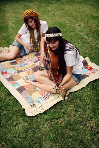 softspoken sunburst beret in golden, xtra long chain scarf in celery, and haight street headband in cream