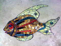 red eye fish (Moe's Ache) Tags: fish mosaic bloomington whimsical cappi moesache motherbearspizza redeyefish