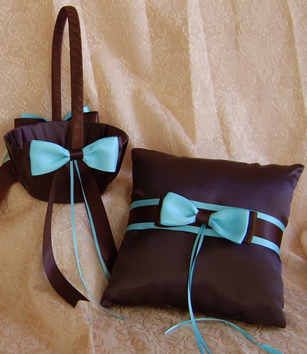 Chocolate Brown and Tiffany Blue Wedding Flower Girl Basket and Ring Bearer Pillow