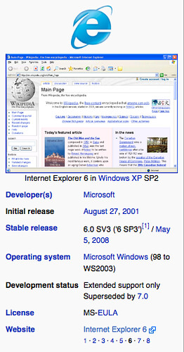 Internet Explorer 6 - Wikipedia, the free encyclopedia (by mahemoff)