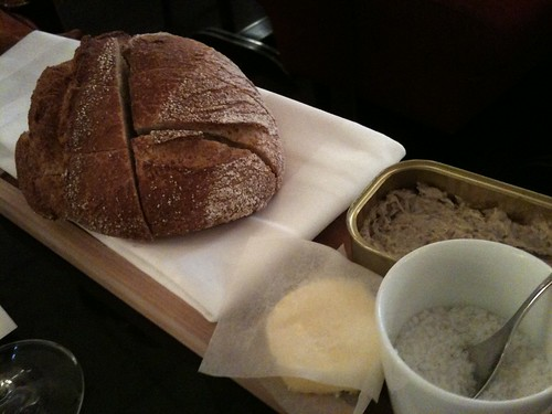 Thoumieux: Bread + butter + sardine rillettes