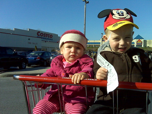 Costco's double-seater shopping carts are great when you have two toddlers.