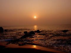 Happy Weekend (Ratnakar2.) Tags: morning sea sun nature sunrise dawn olympus stylus vizag visakhapatnam morningsea rishikondabeach 1010sw muvo1010