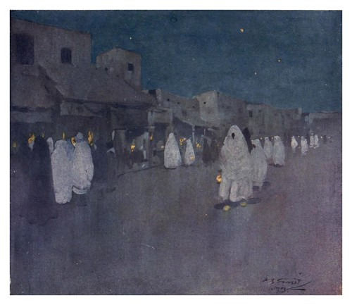 045-Escena nocturna en Mogador-Marruecos-Morocco 1904- Ilustraciones de A.S. Forrest
