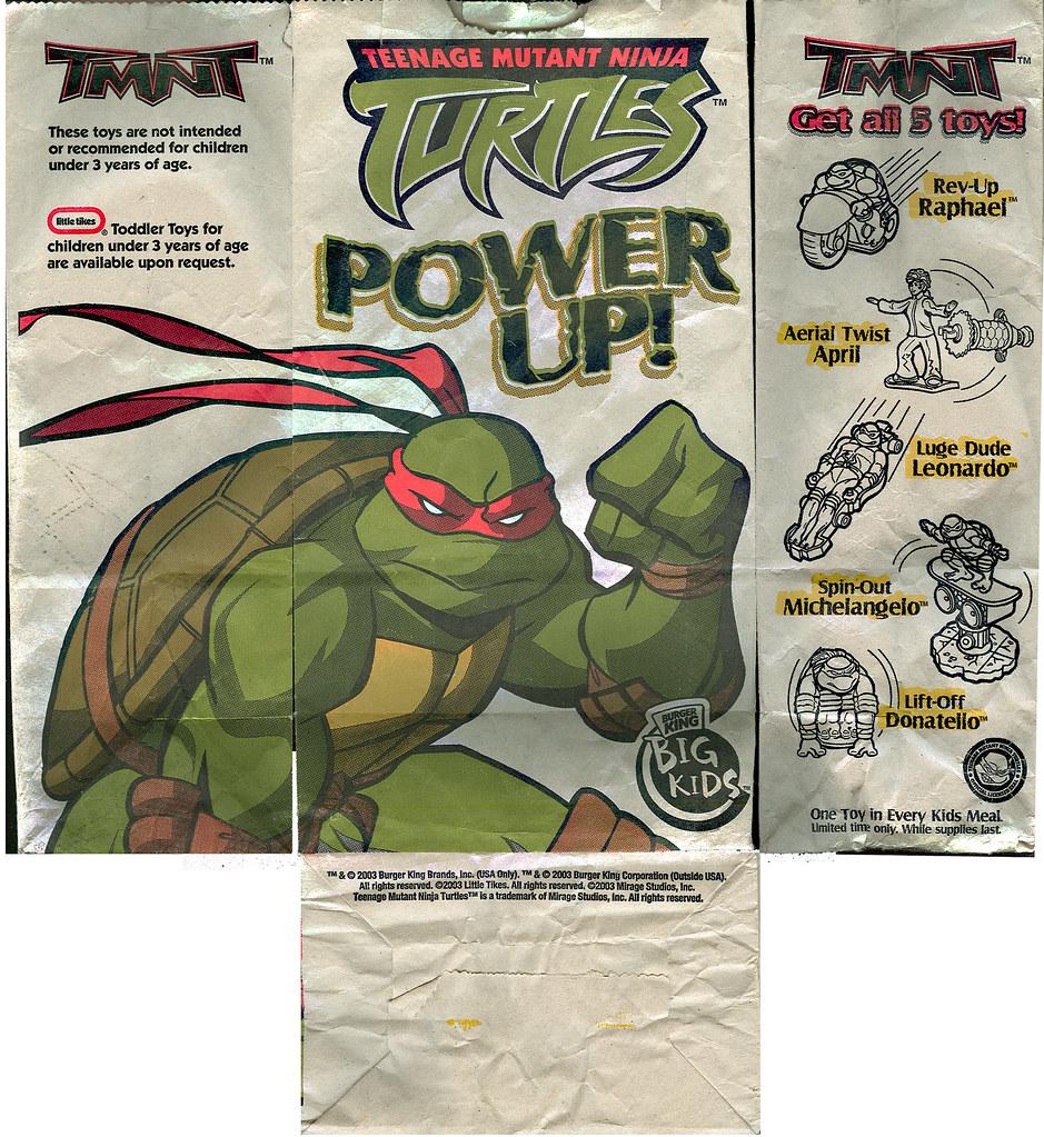 """BURGER KING BIG KIDS meal :: """"TEENAGE MUTANT NINJA TURTLES - POWER UP!"""" i (( 2003 ))"""