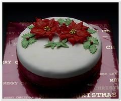 Poinsettia Christmas cake (Milena ❧) Tags: christmas xmas cake poinsettia milen richfruitcake
