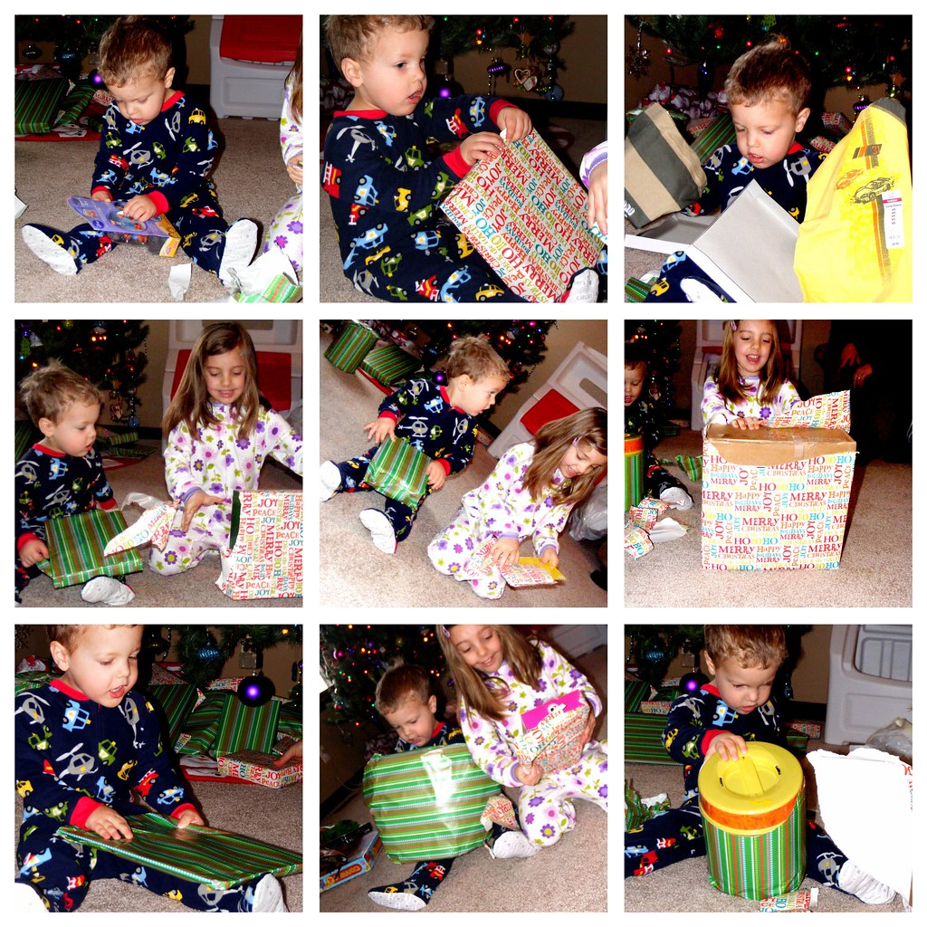 unwrapping presents collage