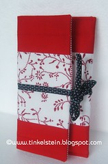 handmade red and white wallet