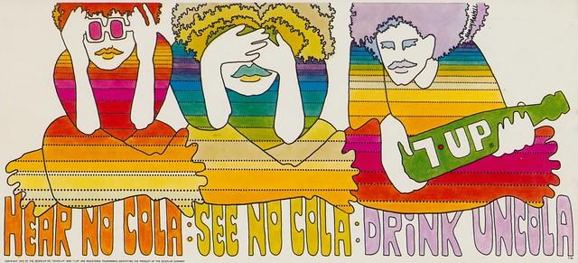 7Up_Hear No Cola_vintage UnCola billboard poster signed by Nancy Martell-1972