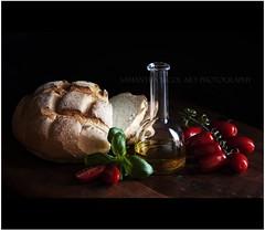 Bruschetta For Brunch! (Samantha Nicol Art Photography) Tags: life food kitchen glass dark tomato bread lunch still italian dof olive tasty oil jar brunch basil bruschetta
