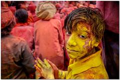 yellow facepack on (Soumya Bandyopadhyay) Tags: bhaj holi nandgaon barsana mathura vrindavan festival colors lathmarholi gulal canoneos5d canon24105lis portrait face