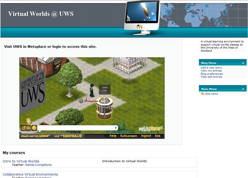 UWS Metaplace campus in a Moodle Frontpage