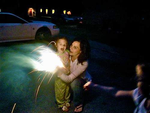 Gredtel and Katie do Sparklers