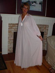 Lucie Ann Pink Nylon & Satin Nightgown Full Length Front Displayed 1 (mondas66) Tags: lingerie boudoir satin nylon nightgown nightgowns nightdress nightwear nightie nighties nightdresses lucieann