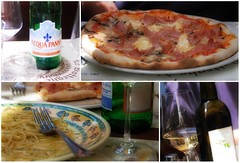 scenes from an italian restaurant (beesquare) Tags: italy water lunch florence italia wine ladolcevita pizza butter tuscany garlic firenze oliveoil creamcheese toscana pinotgrigio piazzadelduomo heavenonaplate vinobianco andlotsofit spaghettiallevongole lebotteghedidonatello