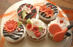 Zebra Stripes and Blossoms  Wedding Cupcakes (Grace Stevens) Tags: wedding design cupcakes capetown decorating burntorange fondant zebraprint gracescakes cupcakesbydesign