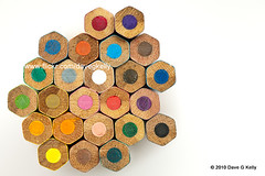Pencil Hexagons (Dave G Kelly) Tags: color colour childhood closeup pencil pencils whitebackground hexagon multicolored coloredpencil selectivefocus canon50mmf14 colouredpencil artandcraft colorimage davegkelly
