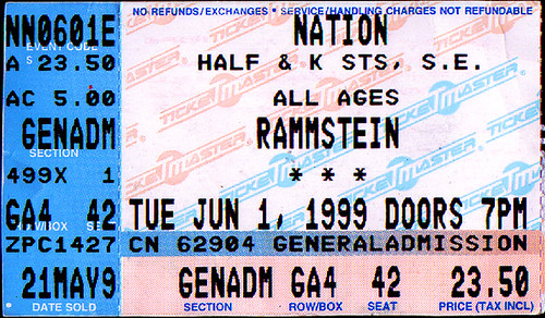 19990601 - Rammstein - ticket stub - Nation