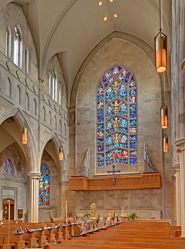 Roman Catholic Cathedral of Saint Peter, in Belleville, Illinois, USA - back of nave