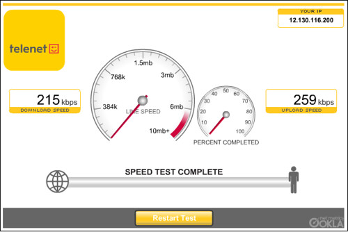 In-flight Wi-Fi speed test