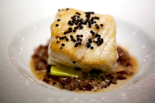 Halibut, Green Beans, Wild Rice and American Caviar